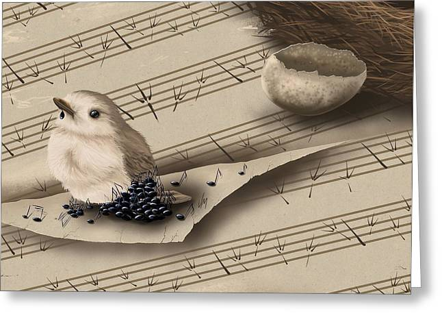 Digital Finger Greeting Cards - Songbird Greeting Card by Veronica Minozzi