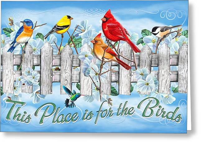 Songbirds Fence Greeting Card by JQ Licensing