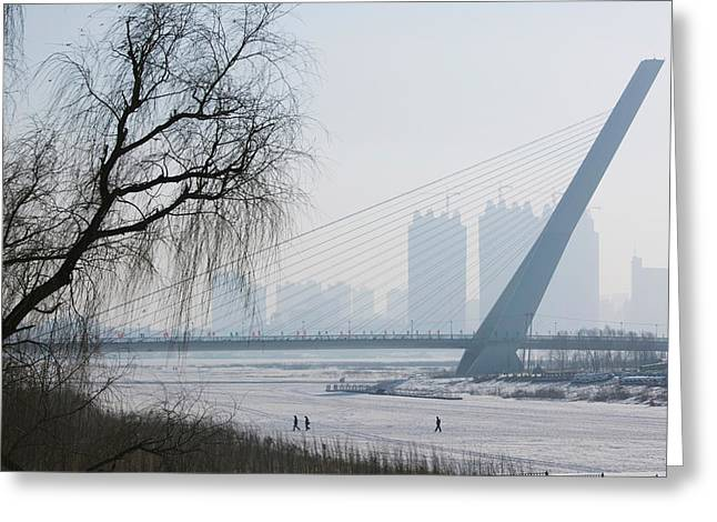 Three People Photographs Greeting Cards - Songhuajiang Highway Bridge Greeting Card by Panoramic Images