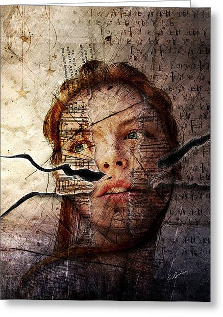 Girl Face Greeting Cards - Songs In The Night Greeting Card by Gary Bodnar