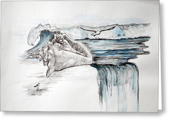 Sonido Del Mar Greeting Card by Gladiola Sotomayor