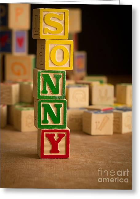 Sonny Greeting Cards - SONNY - Alphabet Blocks Greeting Card by Edward Fielding