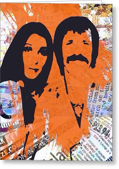 Sonny Bono Greeting Cards - Sonny and Cher Greeting Card by Trisha Buchanan