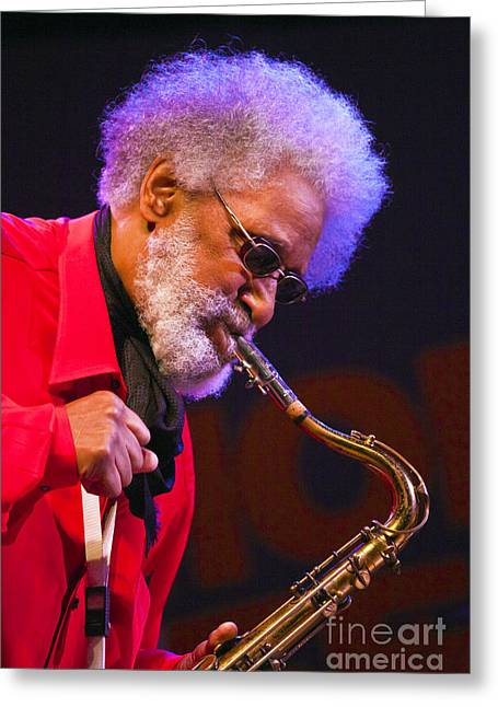 Sonny Rollins On Sax Greeting Card by Craig Lovell