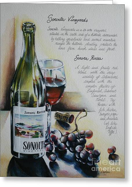Painted Recipes Greeting Cards - Sonoita Vineyards Greeting Card by Alessandra Andrisani