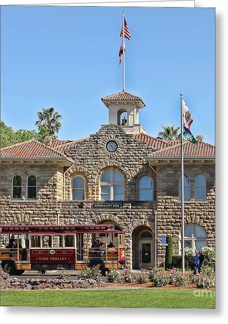 Town Square Greeting Cards - Sonoma City Hall  8111 Greeting Card by Jack Schultz