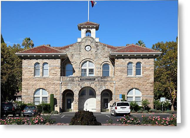 Sonoma Photographs Greeting Cards - Sonoma City Hall Downtown Sonoma California 5D19260 square Greeting Card by Wingsdomain Art and Photography