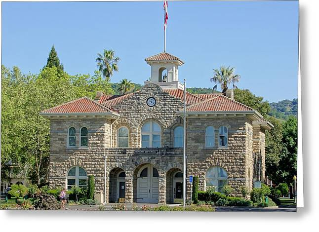 Hall Vineyards Greeting Cards - Sonoma City Hall Greeting Card by Jenny Hudson