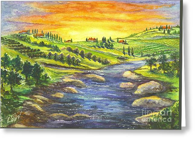 Tuscan Sunset Greeting Cards - Sonoma Country Greeting Card by Carol Wisniewski