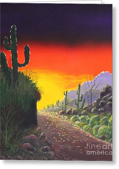 Quite Mixed Media Greeting Cards - Sonoran Sunrise Greeting Card by Bob Williams
