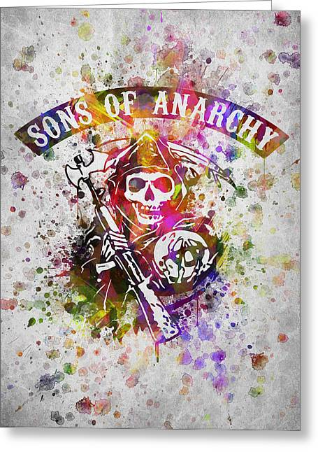 Motorcycle Digital Art Greeting Cards - Sons of Anarchy in Color Greeting Card by Aged Pixel