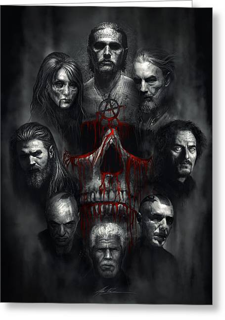 Skull Digital Art Greeting Cards - Sons of Anarchy Tribute Greeting Card by Alex Ruiz