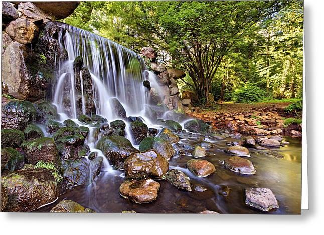 Gelderland Greeting Cards - Sonsbeek Waterfall / Arnhem Greeting Card by Barry O Carroll