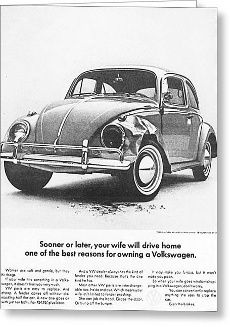 Vw Beetle Greeting Cards - Sooner or later your wife will drive home.............. Greeting Card by Nomad Art And  Design
