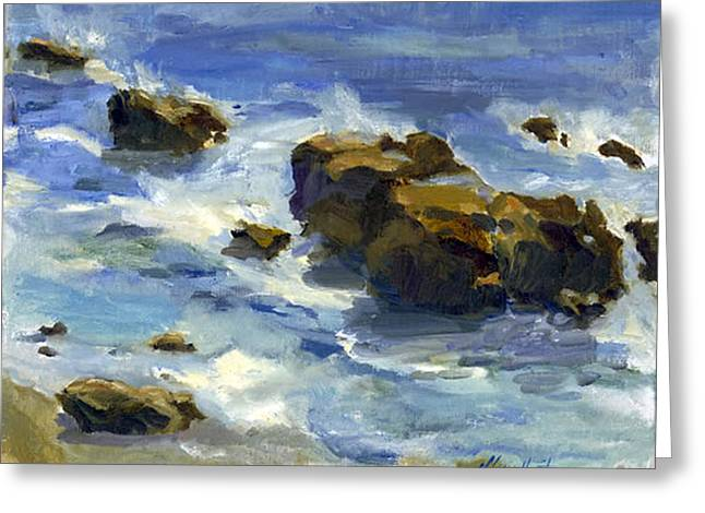 Reflection In Water Greeting Cards - Soothed by the Sea Greeting Card by Maria Hunt