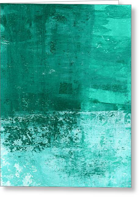 Turquoise Abstract Art Greeting Cards - Soothing Sea - Abstract painting Greeting Card by Linda Woods
