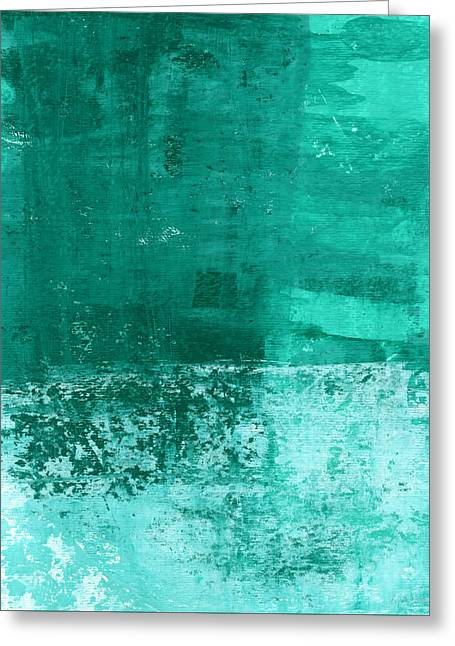 White Art Greeting Cards - Soothing Sea - Abstract painting Greeting Card by Linda Woods