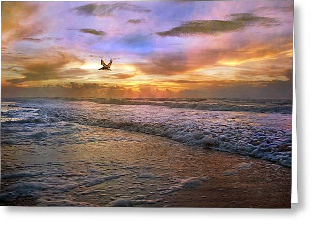 Topsail Island Greeting Cards - Soothing Sunrise Greeting Card by Betsy C  Knapp