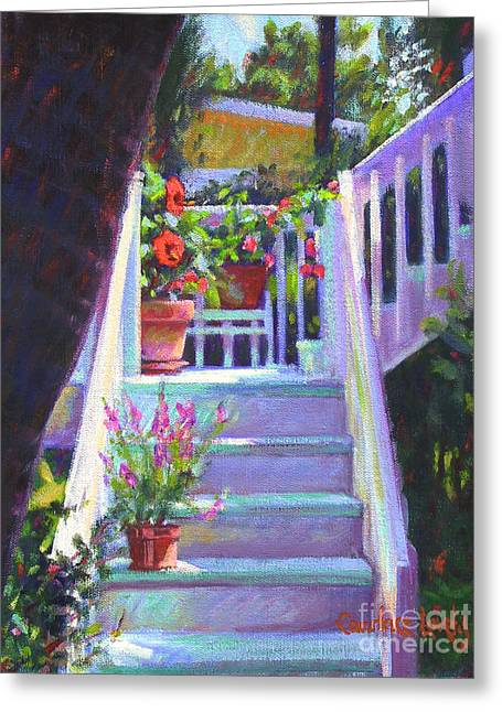 Red School House Greeting Cards - Soozis Steps  Greeting Card by Candace Lovely