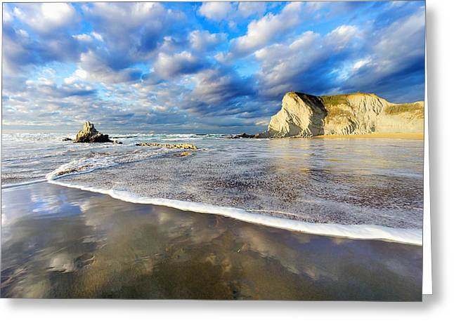 Pais Vasco Greeting Cards - Sopelana beach with wave foam and reflections Greeting Card by Mikel Martinez de Osaba