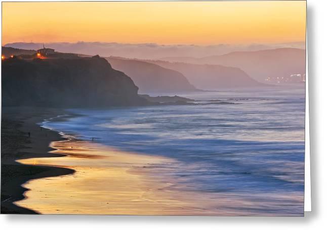 Foggy Beach Greeting Cards - Sopelana coast at sunset Greeting Card by Mikel Martinez de Osaba