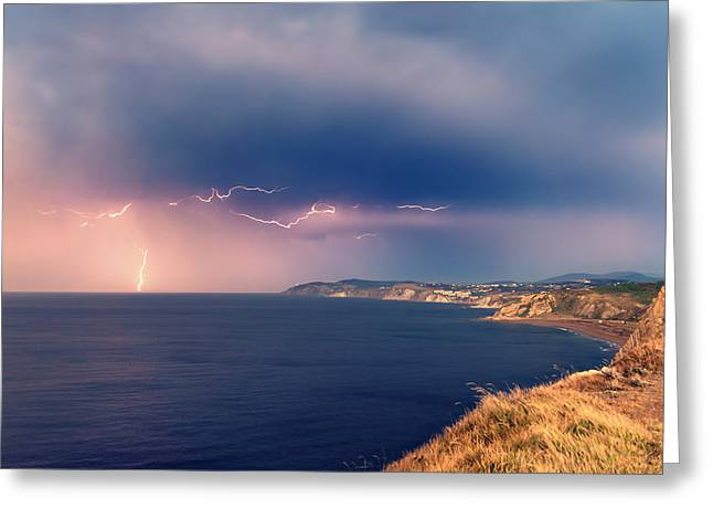 Pais Vasco Greeting Cards - Sopelana coast with thunderstorm Greeting Card by Mikel Martinez de Osaba