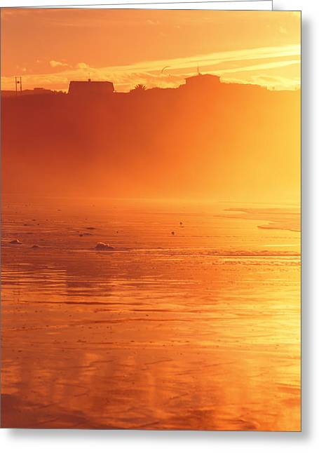 Foggy Beach Greeting Cards - Sopelana misty beach at sunset Greeting Card by Mikel Martinez de Osaba
