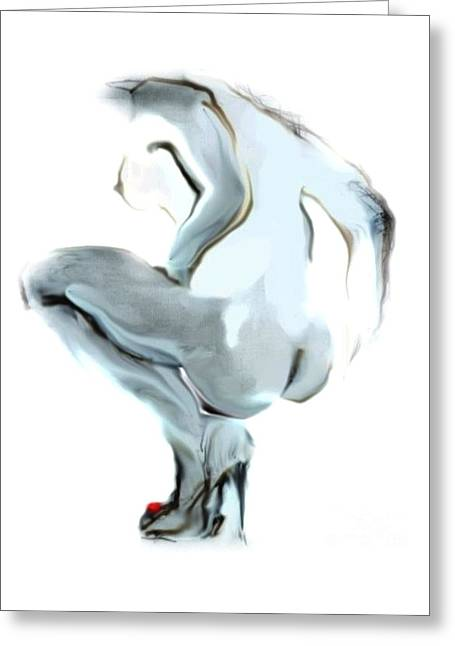 Artistic Nude Print Greeting Cards - Sophi Squats Greeting Card by Carolyn Weltman