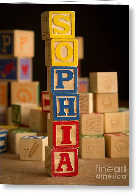 Sophia Greeting Cards - SOPHIA - Alphabet Blocks Greeting Card by Edward Fielding