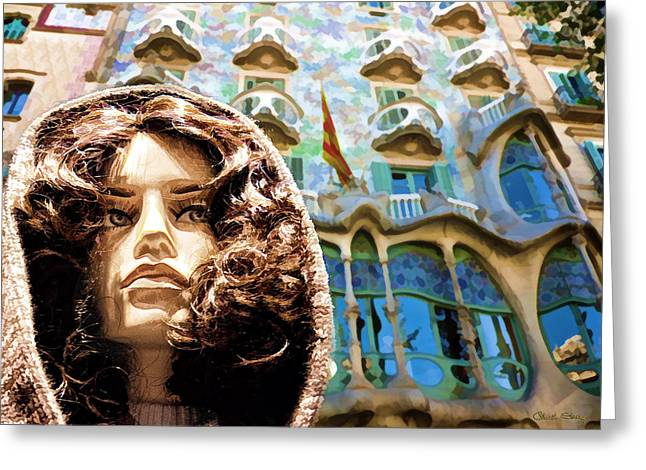 Ladies Of Rodeo Drive Greeting Cards - Sophia at Casa-Batllo Greeting Card by Chuck Staley