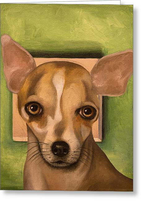 Taco Bell Chihuahua Greeting Cards - Sophia Greeting Card by Leah Saulnier The Painting Maniac