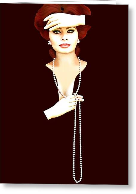 Sophia Loren Portrait Greeting Cards - Sophia Loren 1 Greeting Card by Jann Paxton