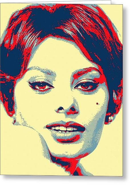 First Star Mixed Media Greeting Cards - Sophia Loren Greeting Card by Art Cinema Gallery