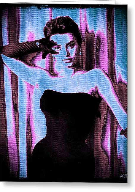 1950s Movies Greeting Cards - Sophia Loren - Blue Pop Art Greeting Card by Absinthe Art By Michelle LeAnn Scott