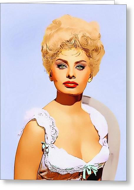 Sophia Loren Portrait Greeting Cards - Sophia Loren in Heller in Pink Tights Greeting Card by Art Cinema Gallery