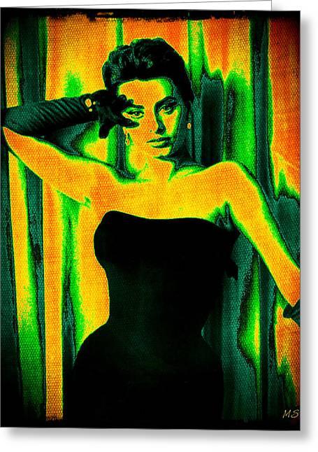 1950s Movies Greeting Cards - Sophia Loren - Neon Pop Art Greeting Card by Absinthe Art By Michelle LeAnn Scott