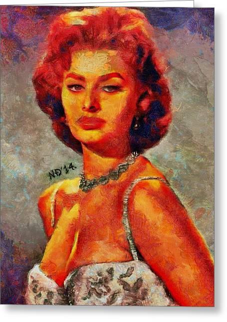 Sophia Loren Portrait Greeting Cards - Sophia Loren Greeting Card by Nikola Durdevic