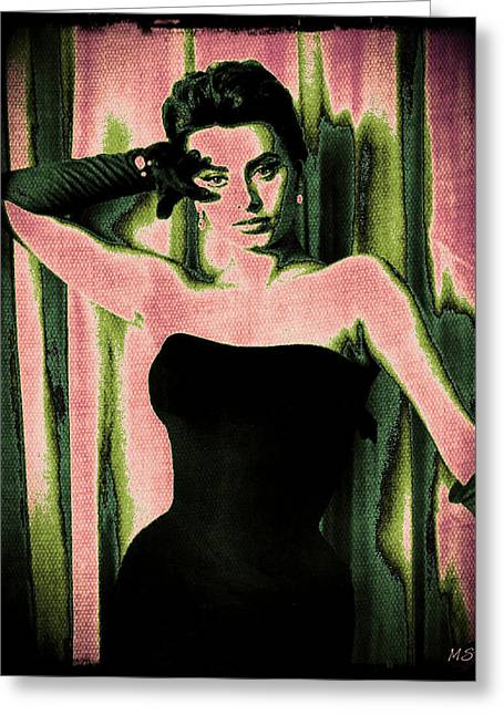 1950s Movies Greeting Cards - Sophia Loren - Pink Pop Art Greeting Card by Absinthe Art By Michelle LeAnn Scott