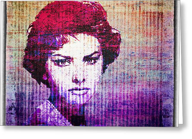Sophia Loren Greeting Cards - Sophia Loren pop-art Greeting Card by Catherine Arnas