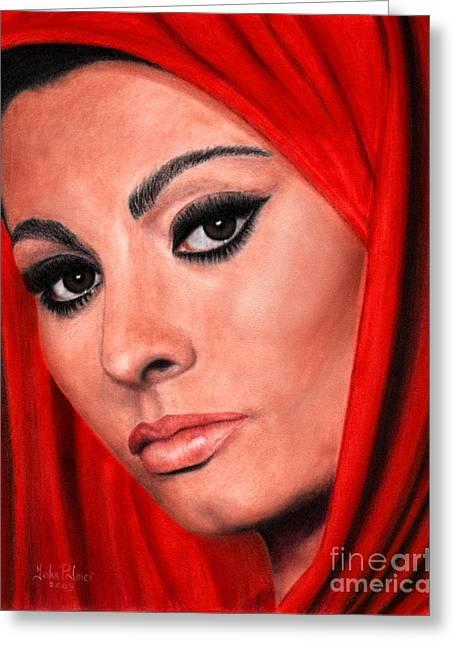Sophia Loren Portrait Greeting Cards - Sophia Loren portrait Greeting Card by John  Palmer