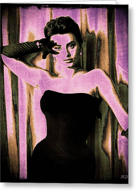 1950s Movies Greeting Cards - Sophia Loren - Purple Pop Art Greeting Card by Absinthe Art By Michelle LeAnn Scott