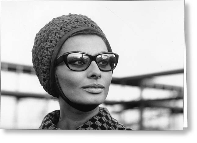 1950s Movies Greeting Cards - Sophia Loren Sunglasses Photo Greeting Card by Nomad Art And  Design