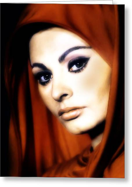 Sophia Loren Greeting Cards - Sophia Loren Greeting Card by Georgiana Romanovna