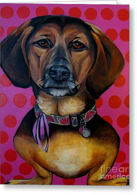 Collar Mixed Media Greeting Cards - Sophia - My Rescue Dog  Greeting Card by Grace Liberator