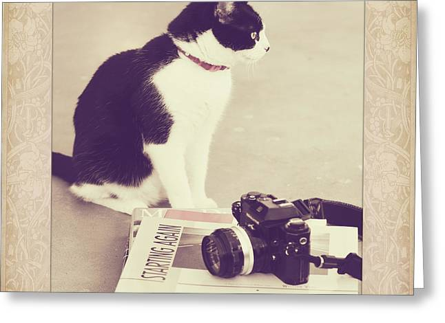 Slr Greeting Cards - Sophie and the Camera Greeting Card by Linda Lees