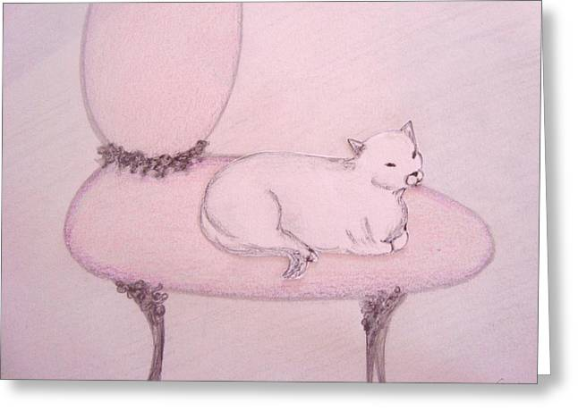 Interior Still Life Pastels Greeting Cards - Sophisticated Cat Greeting Card by Christine Corretti