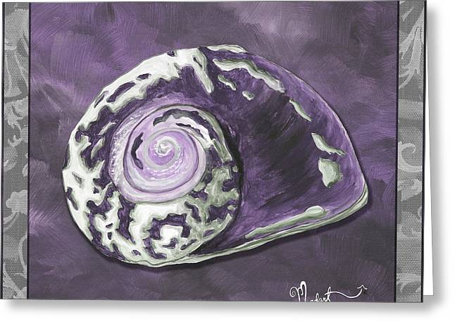 Licensor Greeting Cards - Sophisticated Coastal Art Original Sea Shell Painting Purple Royal Sea Snail by MADART Greeting Card by Megan Duncanson