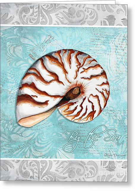 Shell Pattern Greeting Cards - Sophisticated Elegant Nautilus Sea Shell By the Sea 1 by Megan Duncanson Greeting Card by Megan Duncanson