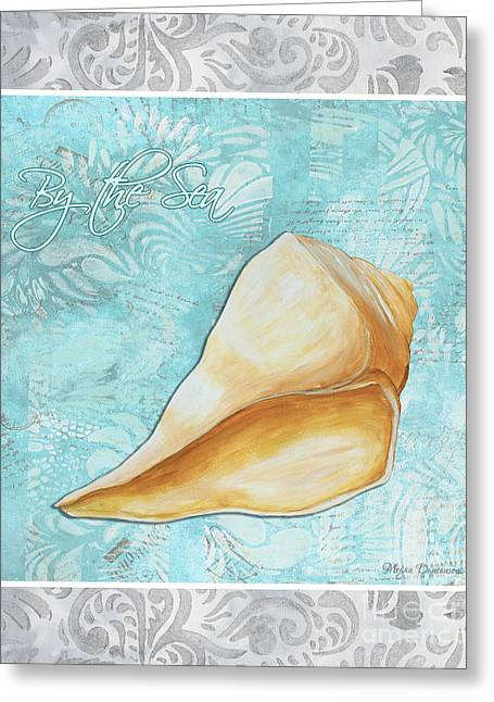 Sea Shell Art Greeting Cards - Sophisticated Elegant Sea Shell By the Sea 1 by Megan Duncanson Greeting Card by Megan Duncanson