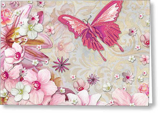 Sophisticated Elegant Whimsical Pink Butterfly Floral Flower Art Springs Joy by Megan Duncanson Greeting Card by Megan Duncanson